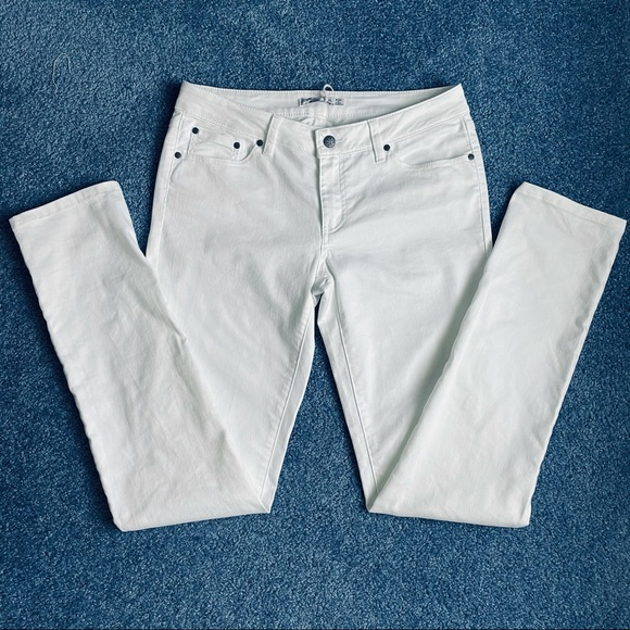 Prana White Kara Jeans, Low Rise, Fitted